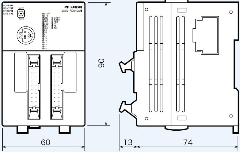 三菱fx2n系列特殊功能模块外形尺寸图