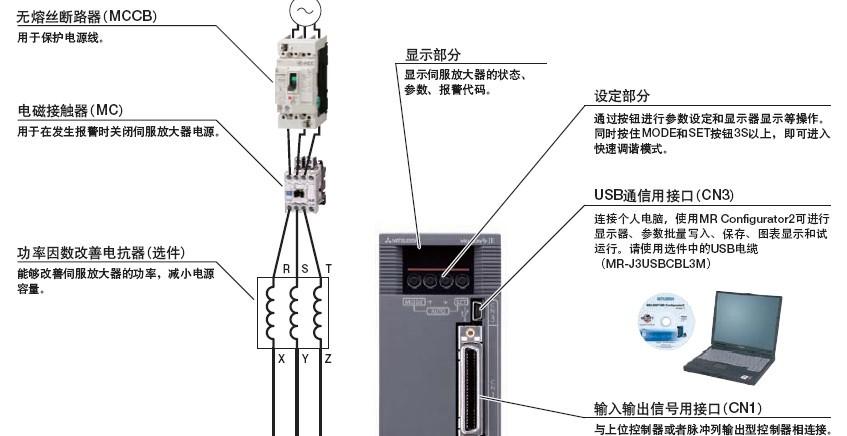 三菱伺服MR JE A放大器与周边设备的连接图分析图片