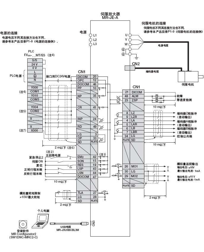 三菱伺服mr-je-a与fx3u系列plc的连接