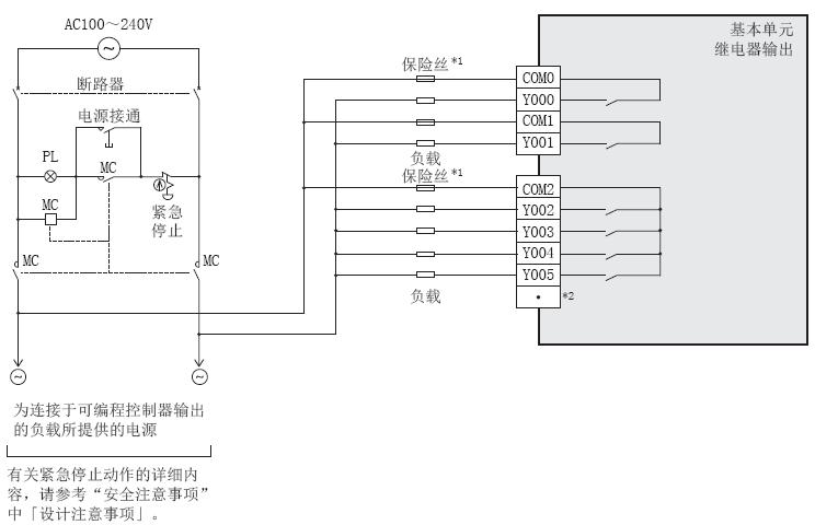 三菱fx3s系列plc继电器输出型的外部接线图