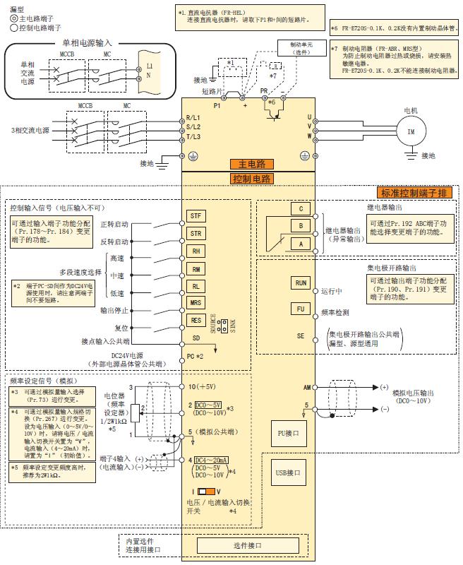 三菱变频器fr-e700系列各端子的接线图解