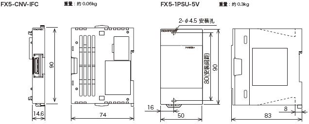 FX5U系列虽小而精,与以往产品FX3U相比,系统总线速度大大提升了150倍,最大可扩展16块智能扩展模块,内置2入1出模拟量功能,内置以太网接口及4轴200kHz高速定位功能。以下给出FX5系列的外形图。 1、FX5U PLC外形尺寸图 FX5U主单元型号有:FX5U-32MR/ES、FX5U-32MT/ES、FX5U-32MT/ESS、 FX5U-64MR/ES、FX5U-64MT/ES、FX5U-64MT/ESS、 FX5U-80MR/ES、FX5U-80MT/ES、FX5U-80MT/ESS、 F