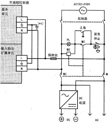 fx3ga系列三菱plc的外部配线及接地线