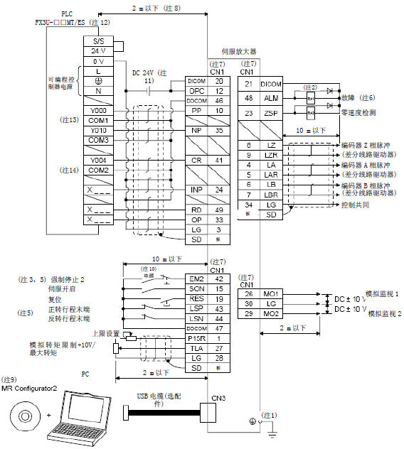 三菱伺服放大器mr-je-a输出输入信号的连接