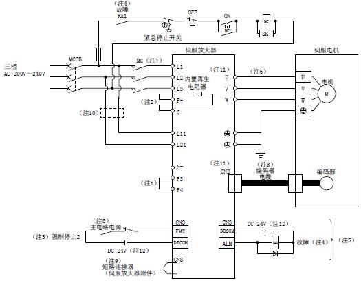 三菱伺服驱动器mr-j4-b电源系统电路的连接